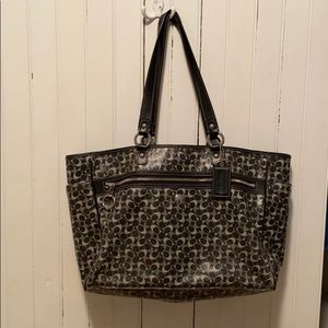 "Coach Diaper Bag Black Signature ""C"" Design Large"